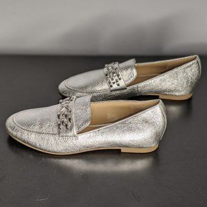 NWOT Silver Michael Michael Kors Loafers Size 6